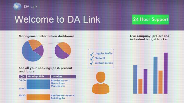 DA Link online portal dashboard example